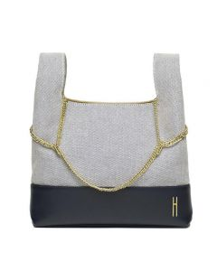 Hayward Linen and Leather New Chain Bag - Navy