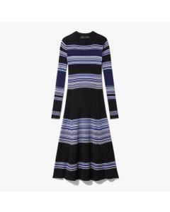 Proenza Schouler Striped Ribbed Dress - Black & Blue